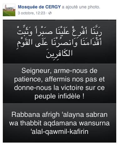 Compte Facebook officiel de la Grande mosquée de Cergy.