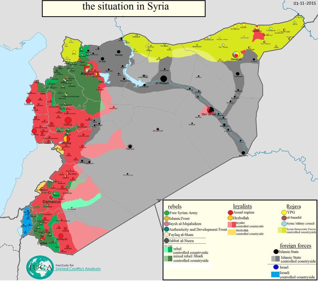 Situation en Syrie au 1er novembre 2015. Cartographie par Thomas van Linge.